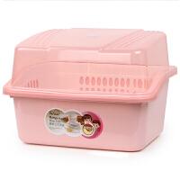 大号装碗筷收纳箱沥水架带盖家用厨房简易碗柜小塑料放碗盆餐具盒 特大号 藕粉色(加厚升级)