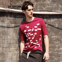 viishow夏装新款短袖t恤 欧美时尚短袖男 红色艺术几何印花t