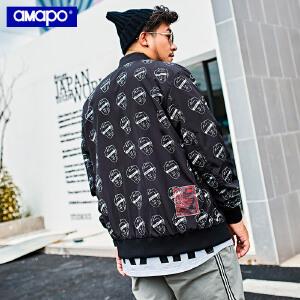 【限时抢购到手价:159元】AMAPO潮牌大码男装秋季薄外套加肥加大码宽松满印嘻哈棒球服夹克