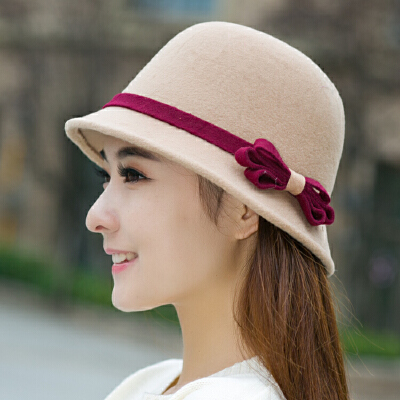 百搭毛呢帽子复古春秋季蝴蝶结渔夫帽盆帽圆顶英伦女士礼帽冬天潮