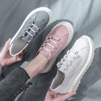韩版百搭学生布鞋休闲厚底平底小白板鞋新款小黑帆布女鞋