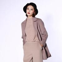 双面羊绒大衣女短款伊琳国际2017秋冬新款韩版羊毛呢外套5386