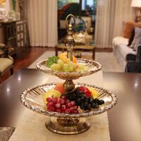 欧式样板间家居软装饰品 玻璃双层果盘摆件 时尚创意水果盆果篓