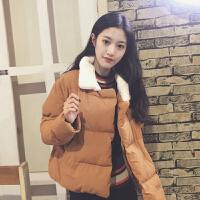 秋冬女装韩版宽松加厚毛领面包服保暖棉衣百搭外套学生短款潮 均码