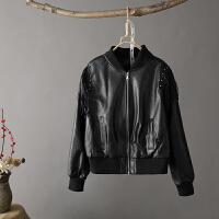 O1春秋新皮衣女短款韩版机车pu皮夹克修身显瘦黑色女士小外套0.75