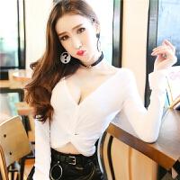 女士秋装上衣新款2017韩版V领T恤夜店打底衫女长袖秋冬百搭性感