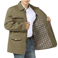 中年男士夹克中老年春秋季休闲加大外套纯棉上衣爸爸翻领夹克衫