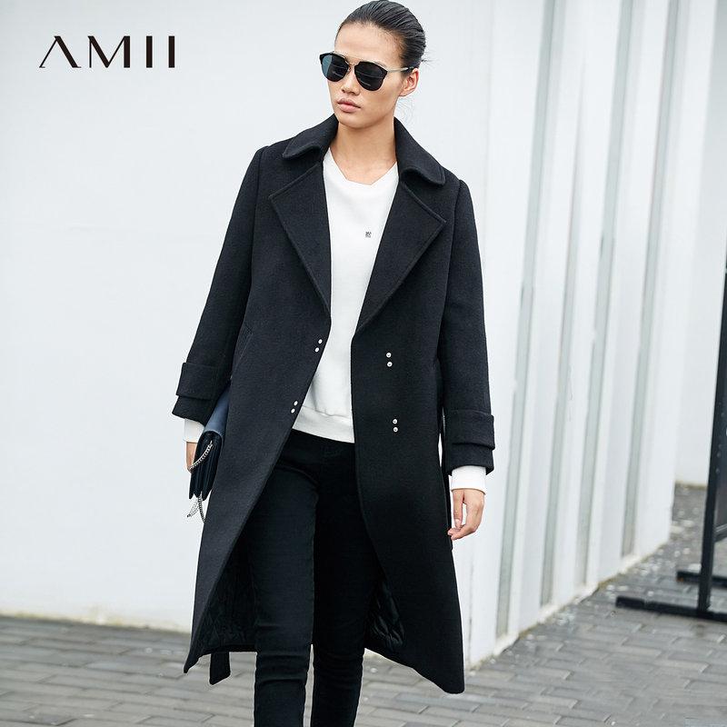 【到手价384元】Amii极简赫本流行潮翻领毛呢外套女2018冬新纯色腰带长款加厚大衣.