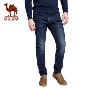 骆驼男装 2017秋季新款时尚中腰水洗微弹直筒棉质牛仔裤男士长裤
