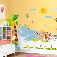 田园卡通欢乐伙伴儿童房背景墙贴纸 客厅卧室床头温馨贴画可移除