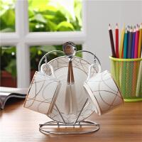 欧式骨瓷简约水杯英式下午茶杯子陶瓷150ml咖啡杯碟2套装送勺杯架