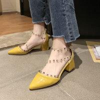 户外凉鞋韩版仙女风时尚单鞋超一字带铆钉中粗跟女鞋