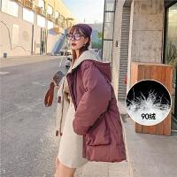 七格格工装羽绒服女短款2019新款潮冬季白鸭绒时尚小个子派克服潮