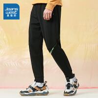 真维斯男装 2021春装新款 针织粘纤特织布束脚慢跑九分裤