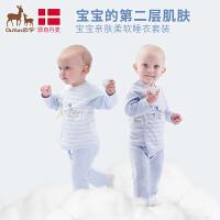 欧孕新生儿宝宝衣服夏季0-6个月上衣婴儿夏装薄款两件套和尚服空调服