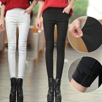 新款外穿加绒打底裤女秋冬版牛仔加长弹力铅笔高腰紧身小脚长裤子