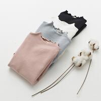2018童装 女童秋款纯棉儿童T恤 木耳边领百搭儿童针织打底衫舒适
