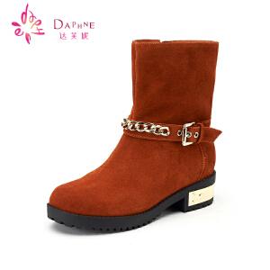 达芙妮女靴 冬靴舒适方根女鞋 金属扣带牛皮短筒靴