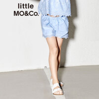 littlemoco夏季新品女童裤子夏装松紧腰镂空波浪裤脚透气棉短裤