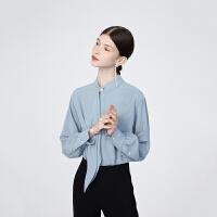 【超值一口价:260】LILY女装纯色飘带领肌理条纹气质珍珠扣多色宽松衬衫