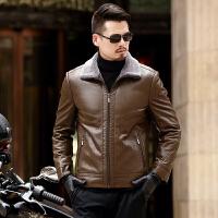 冬季翻领加绒加厚真皮皮衣男修身皮夹克大码皮毛一体外套