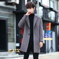 韩版中长款加厚翻领羊绒毛呢大衣男冬季新款风衣妮子羊毛外套