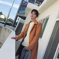 冬季呢子大衣男中长款加厚韩版修身风衣青年英伦毛呢外套带腰带潮