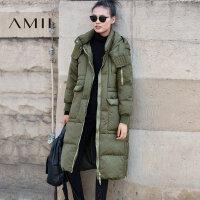 【满200减100 上不封顶】Amii[极简主义]2017年冬装90绒长款过膝羽绒服加厚外套女OVERSIZE