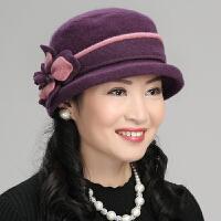 羊毛呢帽子女秋冬季中年妈妈小礼帽女士中老年人老人帽子奶奶保暖