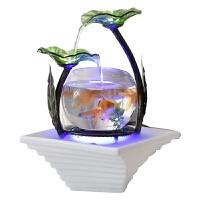 家居小型客厅鱼缸流水电视柜摆件陶瓷喷泉桌面加湿器创意生日礼物 22030HF 无雾化器