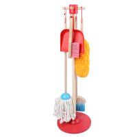 儿童过家家玩具套装男宝宝女孩清洁打扫卫生扫地拖把仿真木制工具 儿童过家家地板清洁组套装
