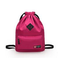 篮球袋子篮球包足球包训练包束口袋抽绳双肩包防水户外运动健身包 玫红色 保罗803