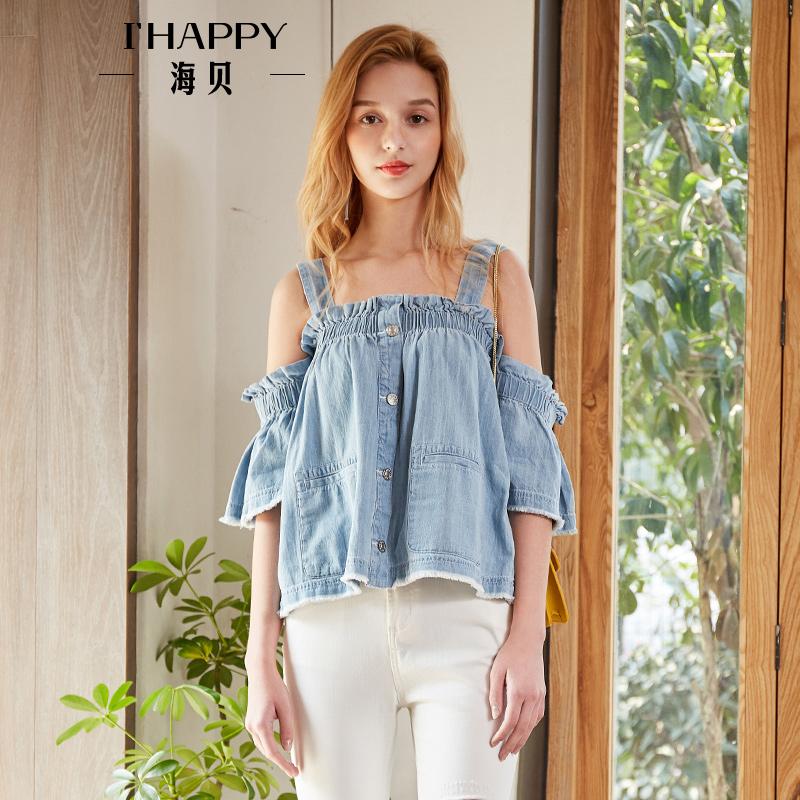 海贝2018夏装新款女 木耳边短袖毛边浅蓝色牛仔吊带衫宽松娃娃衫