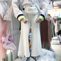 韩国ulzzang2018春装新款百搭高腰明线装饰牛仔长裤女白色阔腿裤