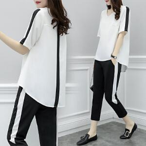 【超值两件套装】2018夏季新款韩版宽松时尚运动套装女短袖大码休闲七分裤两件套潮