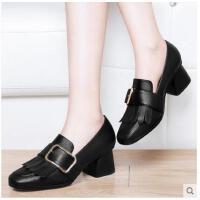 古奇天伦春季新款黑色方头粗跟高跟单鞋chic小皮鞋复古ins英伦风女鞋GT03363