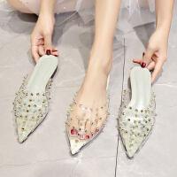 新款百搭平底凉鞋女 时尚铆钉女士包头半拖鞋 韩版外穿凉拖潮女洞洞鞋