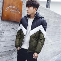冬季青少年棉衣男韩版潮流拼色加厚保暖棉服外套高中学生男装棉袄