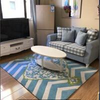 美式茶几大地毯客厅床边地毯卧室简约现代蓝色地中海地垫门垫定制