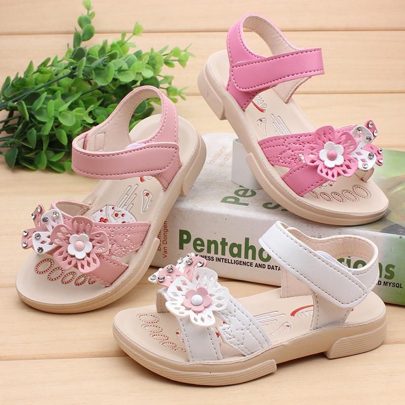 宝宝凉鞋1-2岁夏季露趾婴幼儿学步鞋一岁半花朵公主软底女童鞋潮
