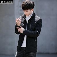 男士羽绒服轻薄款新款冬季男装韩版修身短款潮流帅气冬装外套 黑色 8001