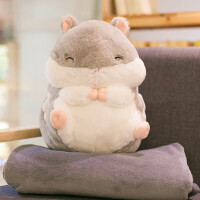 毛绒玩具圣诞节礼物胖仓鼠公仔布娃娃玩偶暖手抱枕被子两用空调毯