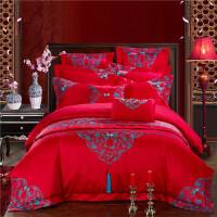 婚庆四件套大红刺绣结婚床上用品六件套1.8m床新婚庆床品贡缎提花