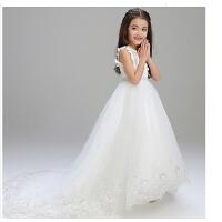 儿童礼服白色公主裙女童拖尾婚纱裙花童晚礼服长款蓬蓬纱演出服春