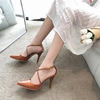 户外时尚细跟尖头性感高跟鞋罗马凉鞋女仙女风配裙子的鞋
