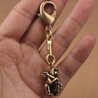 复古创意铜黄铜十二生肖猴子钥匙扣挂件吊坠饰品项链配饰小礼物 万向旋转