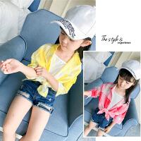 亲子女童防晒衣夏装中长款衬衫外套夏季防晒服格子衬衣空调服