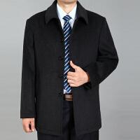 中老年男士毛呢大衣秋冬爸爸装外套加厚休闲宽松中长款羊毛大衣 深灰色 0/M