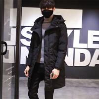 棉衣男中长款冬季帅气韩版修身青年潮流休闲连帽外套 黑色