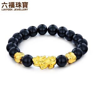 六福珠宝黄金貔貅手链硬金貔貅男女款足金玉髓手串定价GMA1S60002
